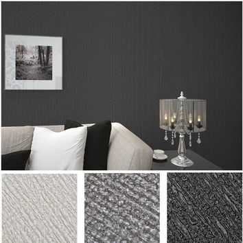 Thick plain grey black background solid color vinyl wallpaper roll pvc emboss texture stripe wall paper for home, bedroom 10M