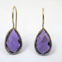 Sterling Vermeil Teardrop Earrings, Dangle Drop Pierced Earrings, Vintage Purple Faceted Amethyst Jewelry, February Birthstone