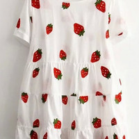 Sweet Strawberry Print Short Sleeve Round Neck Ruffle Dress