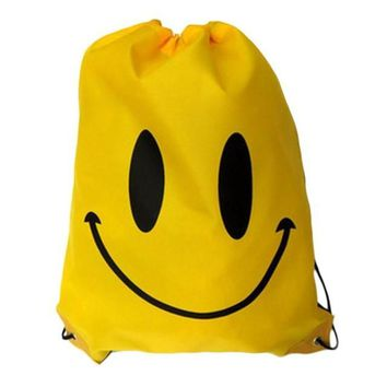 Yellow Smiley Face Double Layer Drawstring Waterproof Gym Bag
