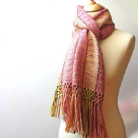 Handwoven scarf in warm and smooth hand dyed alpaca and  kid merino, - multicolor, soft
