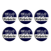 Roberto Hello My Name Is Plastic Resin Button Set of 6
