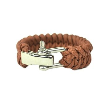 Adjustable Paracord Survival Bracelet, Fits 7-9 Inch Wrist , Brown