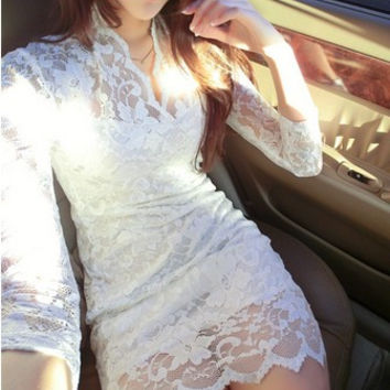 LACE ME ALL OVER IN WHITE, Dress