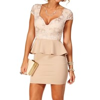 Cream/Taupe Lace Peplum dress