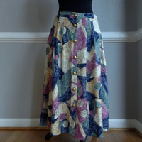 """Abstract Geometric Button Up Skirt """"Connection"""""""