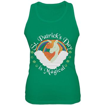 St. Patrick's Day Magical Unicorn Horseshoe Ginger Juniors Soft Tank Top