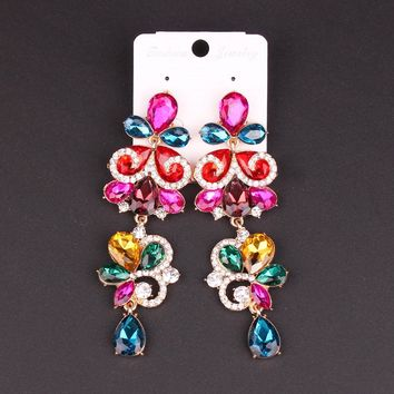 New Fashion Indian Earrings Wedding Bridal Jewelry Crystal Statement Big Long Dangle Drop Earring Brinco Earings Gift For Women