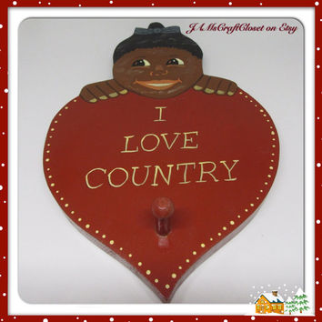 Vintage One of a Kind Black Americana Pickaninny I LOVE COUNTRY Heart Wall Plaque-Home Decor-Country Decor-Primitive Decor-Gift-Collector