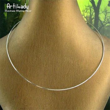 Artilady 925 sterling silver choker necklace silver collar torques minimalist jewelry gift for women ping