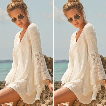 Lace Trumpet Sleeve Loose Beach Dress
