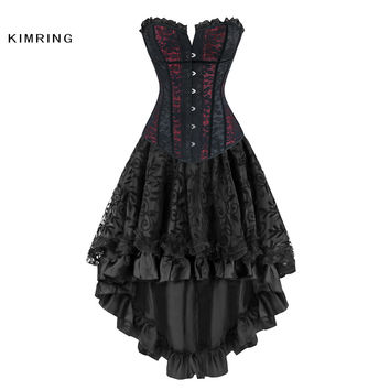Kimring Women Steampunk Corsets Dress Vintage Gothic Overbust Corset Dress Waist Corset Sexy Lace Waist Trainer Bustiers Corset