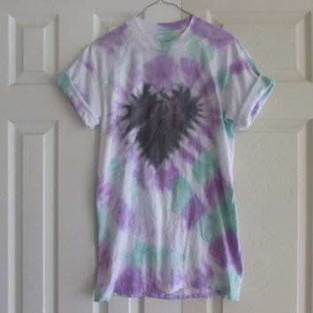 Casual Black, Purple, and Mint Tie Dyed Unisex Tee Shirt With a Black Heart