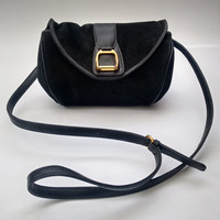 Sale! GUCCI Vintage Black Suede and Leather Shoulder /  Crossbody/ Clutch bag. Italian designer purse with stirrup