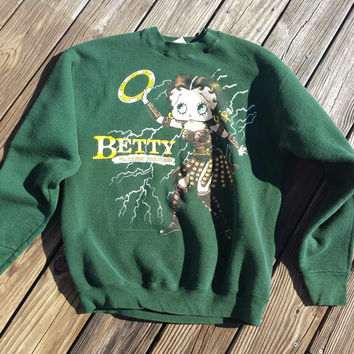 Vintage BETTY BOOP Warrior Princess Sweatshirt - Green Sweatshirt - Size L