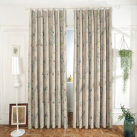 Floral Window Curtain Living Room Black Curtains Fabric Polyester Blackout Cortina Rideau Punching