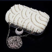 Fashion Exquisite Evening Bag Elegant Pearl Clutch Bags, Shoulder Party Bag White Pearl