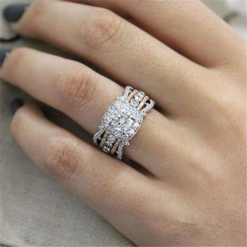 2019 New High Quality Crystal Silver Color Wedding Rings For Woman With Rose Gold Luxury Full Zircon two-tone ring Jewelry