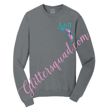Grey Crew Neck State / Lilly Pulitzer Fabric State / Greek Letter Sweater / Alumni Sorority / Sister / Glitter Embroidered Sweater