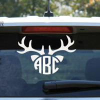 Deer Antlers and Ears Circle Monogram Car Decal