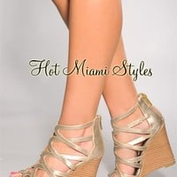 Light Gold Woven Straps Wedge Sandals