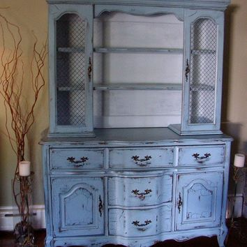 Distressed and aged French Country Hutch in a French by Artisan8
