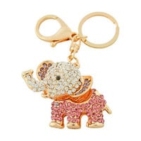 ELEPHANT Keychain: 14k Gold plated; Purple Rhinestone