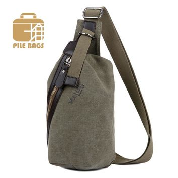 Fashion Men Sling Bag Vintage Canvas Small Cross Body Bag Male Chest Bag Pack Shoulder Bags Casual Travel Male Messenger Bags