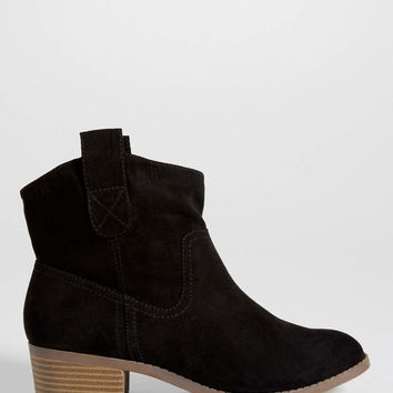 Jemma faux suede slip on ankle bootie in black | maurices