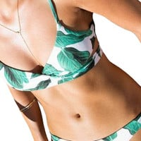 Green Leaf Print Wrapped Top Bikini Set