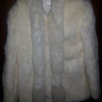 Stunning Vintage 80s White Dyed Rabbit Fur Jacket with Fox Tail Scarf - Size Medium