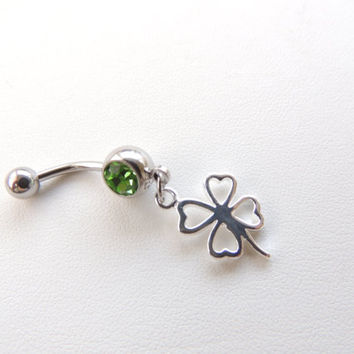Lucky 4 Leaf Clover Belly Button Ring, Shamrock Navel Rings, Irish Green Shamrock, Body Jewelry, Belly Button Jewelry, Irish Charms. 497