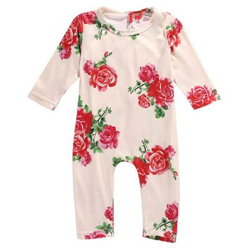 2017 Newborn Toddler Infant Baby Girls Cotton Long Sleeve Flower Romper Jumpsuit Outfits Casual Lovely Clothes