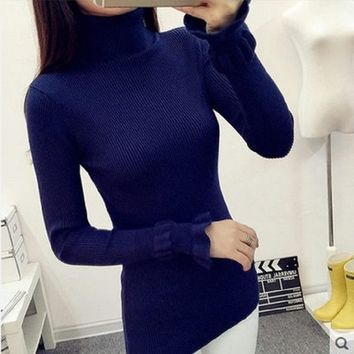 2017 Winter women turtleneck cashmere sweater female casual knitted sweaters and pullovers pull Femme gray oversized knitwear