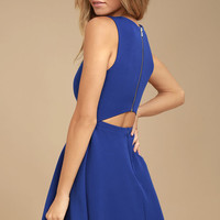 Just Us Royal Blue Skater Dress