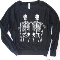 Womens SKELETONS Lightweight Tri-Blend Pullover - american apparel S M L (6 Color Options)