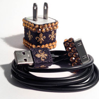 Gold Fleur de Lis iPhone Charger and Cord