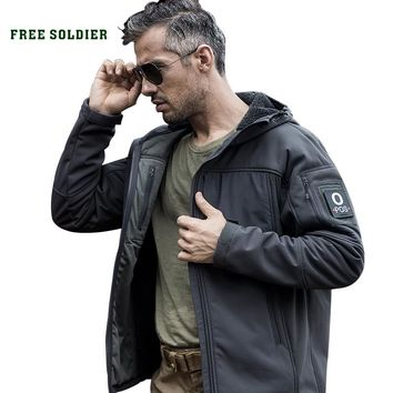 FREE SOLDIER Outdoor sports camping hiking tactical military men's soft-shell jacket wind warm water-resistant coat travel cloth