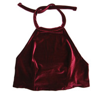 Red Wine Velvet Halter Top