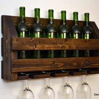 Rustic Wine Rack 6 Bottle 4 Glass Holder Wall Bar Dark Walnut Wood