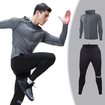 2018 Hot Selling Unique Autumn and Winter Men Sportswear Set Men Casual Tracksuits Track Suit Hoodies + Pants Fitness Outwear he