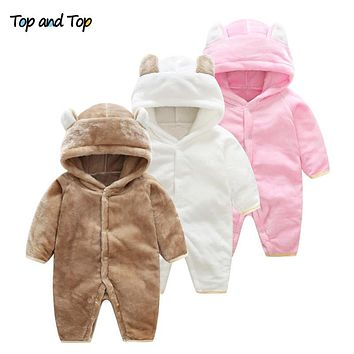 Winter Unisex-Baby Cartoon Animal Bear Long Sleeved Rompers Hooded Flannel Toddler Fleece Jumpsuit