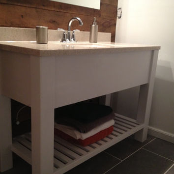"47"" Open Shelf Bath Vanity : Sink Cabinet, Modern, Slatted Shelf Rustic, White, Wood, Custom Sizes"