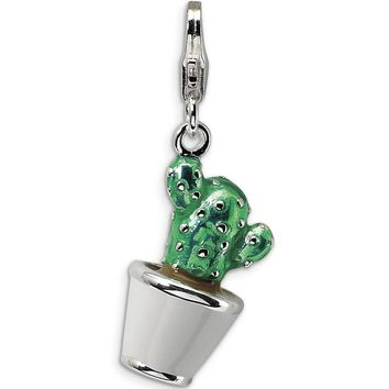 925 Sterling Silver 3D Enameled Potted Desert Cactus Dangle Charm