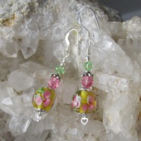 """My Secret Garden"" Artisan Lampwork Art Glass & Swarovski Crystal Sterling Silver Earrings, ""Cherry Blossom Time"" #119"