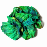 OOAK Silk Scarf  ruffled Hand Dyed Grass-green  Blue Ocher Green  New design