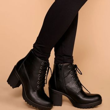 Charlize Black Lace Up Booties