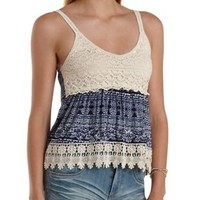 Printed Knit & Crochet Babydoll Tank Top