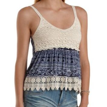 Printed Knit Amp Crochet Babydoll Tank Top From Charlotte Russe