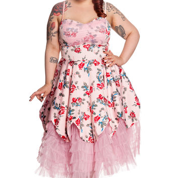 Plus size Gothic Romance Beauty Pink Victorian Rose Tiered pink tulle Party Gown Dress